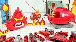 Fire Truck Toys vs Clay Ghost and Crong Fireman Station Play