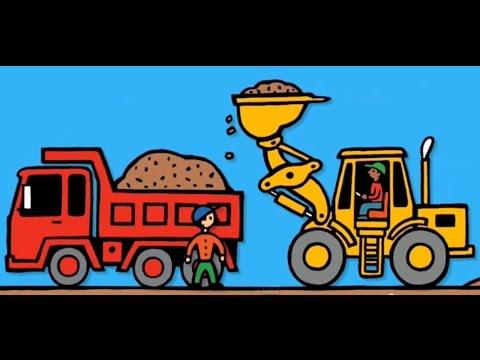 Araba çizgi filmi – KAMYONLAR VE İŞ MAKİNELERİ