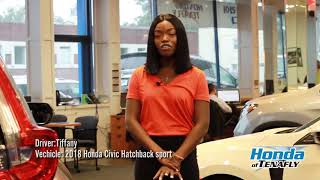 Tiffany test drives at Honda Civic Hatchback 2018