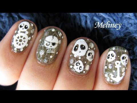 Halloween Nails - Pirates of the Caribbeans Floating Skull Crackle Nail Polish Nail Art Design