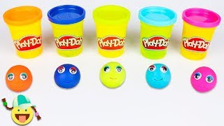 Learn Colors with Play Doh Modelling Clay Play Doh Smily Faces for Kids & Surprise Toys #8
