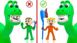 SUPERHERO BABY DINOSAUR TOOTHBRUSH 💖 Play Doh Cartoons For Kids