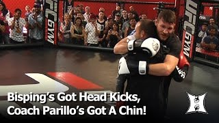 Mike Bisping Head Kicks His Coach Jason Parillo At UFC London Open Workout