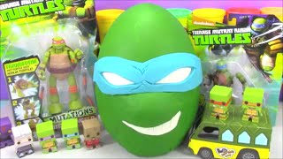 Giant Ninja Turtle Play doh Surprise Egg Leo TMNT with Minecraft Disney Cars and Tokidoki Toys