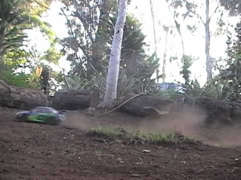 Slowmotion RC Rally Track racing a Tamiya DF03 RA Subaru
