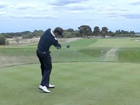 Nick Dougherty Golf Swing with Driver in Slow Motion (Down the Line)