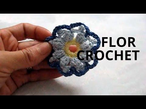 Flor de 8 pétalos en tejido crochet tutorial paso a paso.