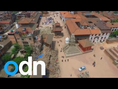 Amateur drone footage filmed a day after the Nepal earthquake, shows a moving bird\'s eye view of the devastation in Kathmandu. Report by Claire Lomas.
