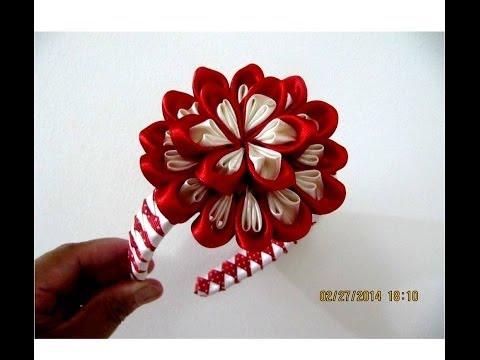 Flores bom bom diademas moñitos dos colores en cintas para el cabello