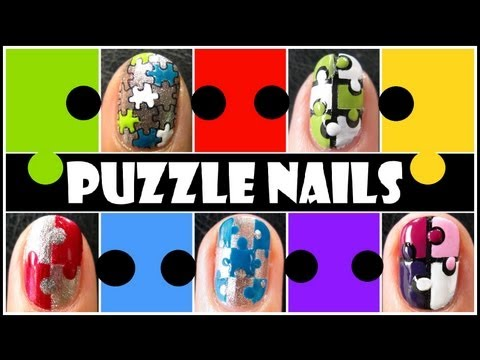 5 WAYS TO CREATE PUZZLE NAILS   EASY HOW TO TAPED KONAD STAMPING NAIL ART DESIGN TUTORIAL SHORT