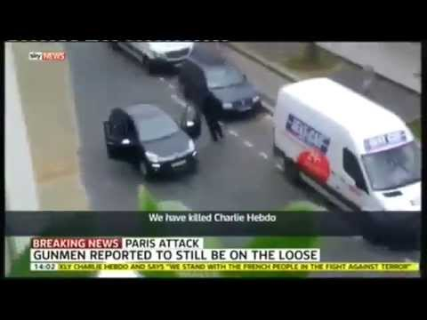 RAW FOOTAGE Paris France Terrorists Attacking Charlie Hebdo Magazine Muhammad cartoons 1/7/2015