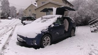Model X opening falcon doors with snow