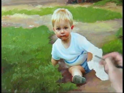 Speed painting little boy in a village