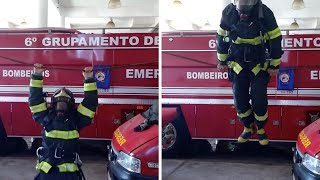 Fireman Performs Impressive Gymnastics In Full Uniform