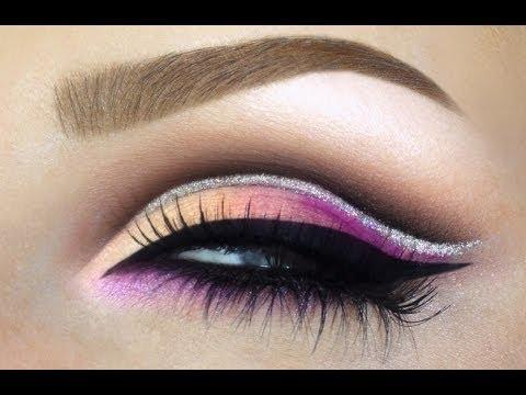 Colorful Cut Crease Wedding Bridal Makeup Tutorial Pink Peach Purple Make Up Youtube