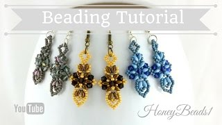 Cross and Sword Earrings Beading Tutorial by HoneyBeads1 (Easy earrings with superduo beads)