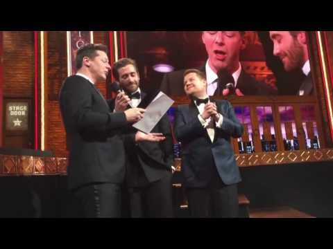 Jake Gyllenhaal, Sean Hayes & James Corden sing at the Tony'Awards 2016
