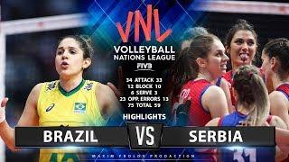 Brazil vs Serbia    Highlights   Women's VNL 2019