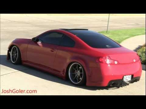 Customized Rims  on Custom Infiniti G35 S   Lowered  Flat Black Paint  Maroon  Red  1080p