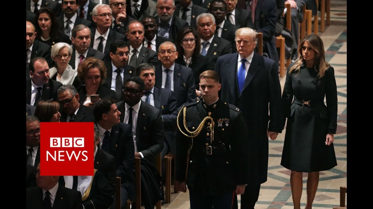 George WH Bush Funeral: President Trump Arrives at the National Cathedral - BBC News
