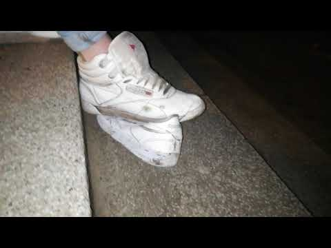 Abusing her Reebok Classic and Freestyle