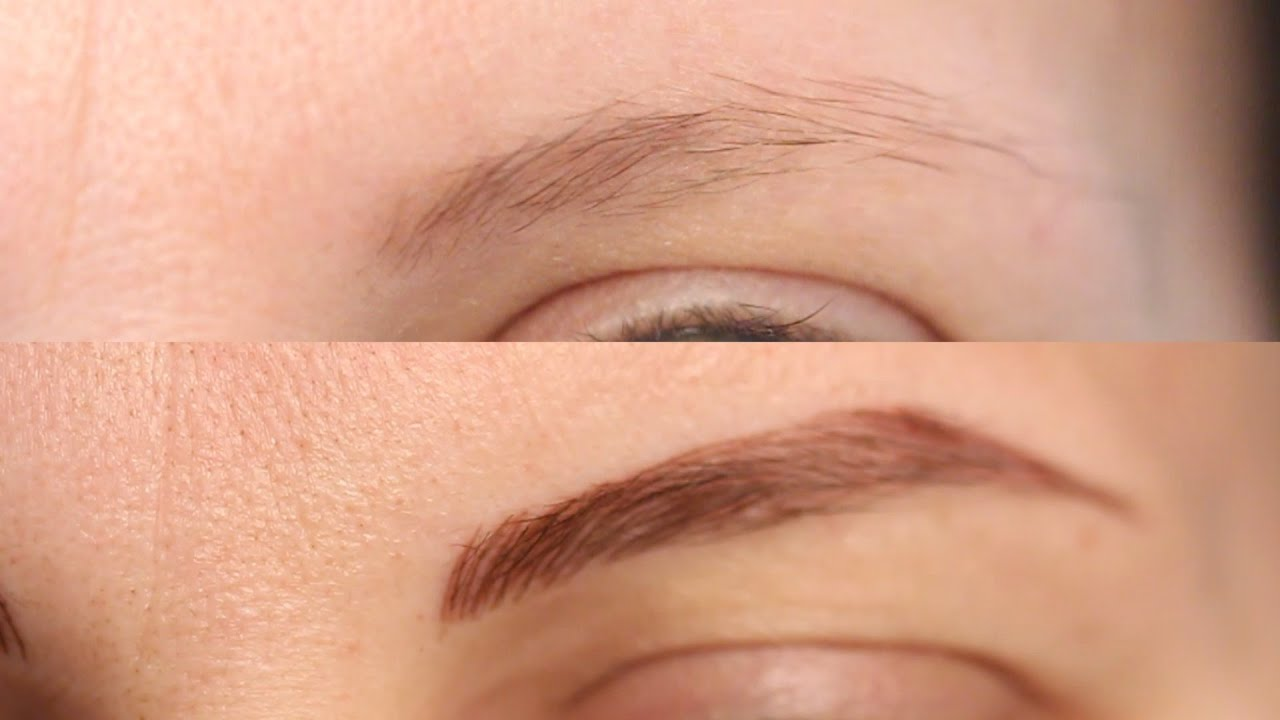 Перманентный макияж для блондинок на брови