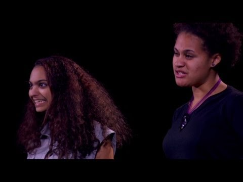 Young women perform Ambiguous about racial identity