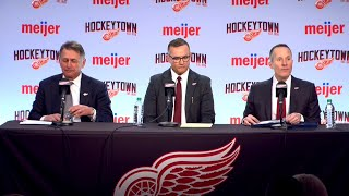 Christopher Ilitch, Steve Yzerman, Ken Holland at press conference