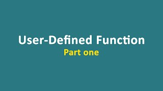 Lecture 18  - Function (part 1)