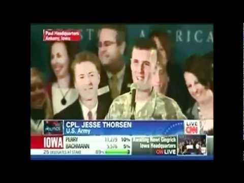 "CNN cuts off a 10 year active military member due to ""technical difficulties"", then later that night Ron Paul brings the soldier on stage so he could finish ..."