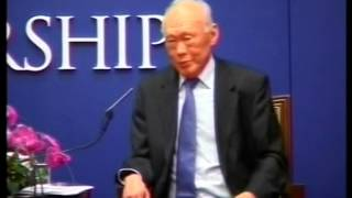 Singapore Prime Minister, LEE Kuan Yew taking questions in Hong Kong