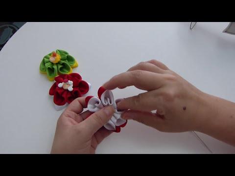 flores dobles para el cabello en cinta paso  a paso. tutorial moños pequeños