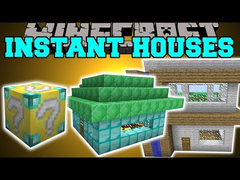 Minecraft: INSTANT HOUSE MOD (CUSTOM HOUSES. TREE HOUSE. LIBRARY & MORE!) Mod Showcase