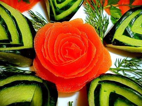 Роза из помидора. Украшения из овощей. Цветы из овощей. Carving tomato