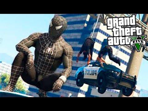 GTA 5 МОДЫ: ЧЕРНЫЙ ЧЕЛОВЕК ПАУК! - Black Spiderman
