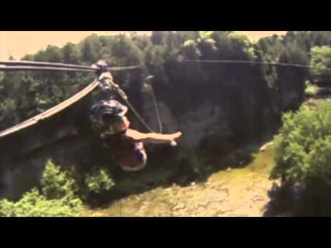 2 year old girl ziplines the Elora Gorge