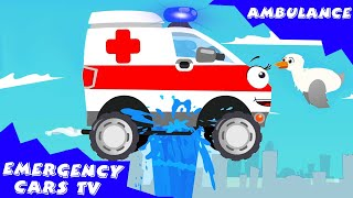 The White Ambulance w/ The Train & The Fire Truck | Emergency Vehicles Cartoon for children
