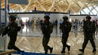Man detonates bomb at airport before attempting suicide