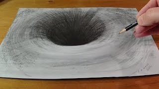 Drawing a 3D Black Hole - How to Draw Round Hole - Anamorphic Trick Art
