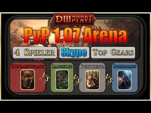 Diablo 3 1.07 Dueling   4 Players   Let's play PvP   Barb vs Monk vs Wizard vs Hexer