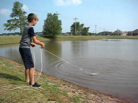 catching fish with a cast net