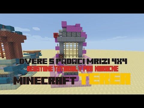 Minecraft Brána s padací mříží 4x4 nová verze TUTORIAL