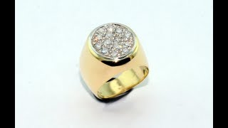 Handmade ring for little finger 18KT gold with diamonds