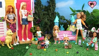 Barbie Family Easter LOL Surprise Egg Hunt Party - Decorating Eggs & Cupcakes