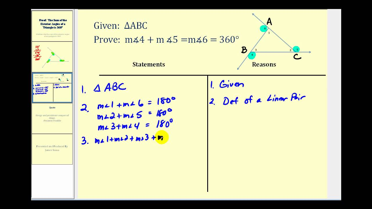 Proof the sum of the exterior angles of a triangle is 360 - Triangle exterior angle theorem proof ...