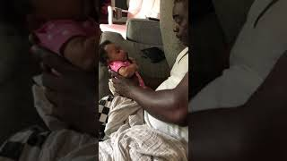 DADDY AND 2 MONTH OLD DAUGHTER - BABY TRYING TO TELL DADDY SOMETHING