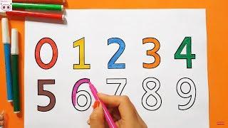Dạy bé học đếm số, dạy bé tô màu chữ số từ 0 đến 9