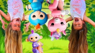 KIDS PRETEND PLAY WITH FINGERLINGS MONKEY UNICORN TOYS!! By LAS RATITAS