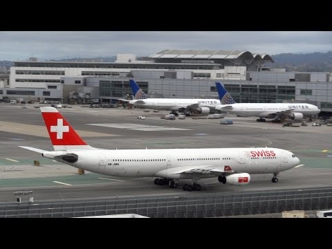 [ATC] United Airlines 747, Swiss A340 landing at San Francisco International Airport
