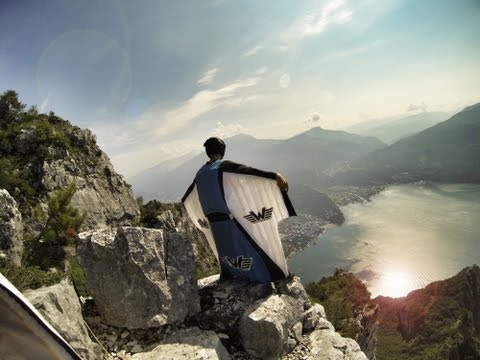 Crazy Wingsuit Flight -- Man Lands On Water Without Parachute? video